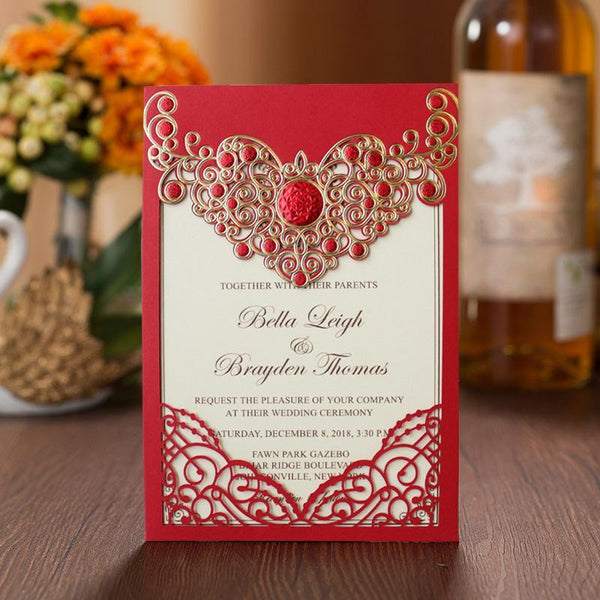 red cheap laser wedding cards