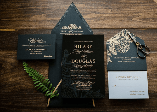 black gold wedding card