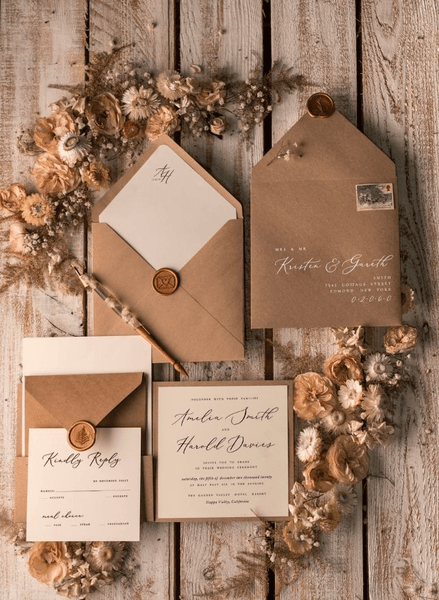 brown card with flowers