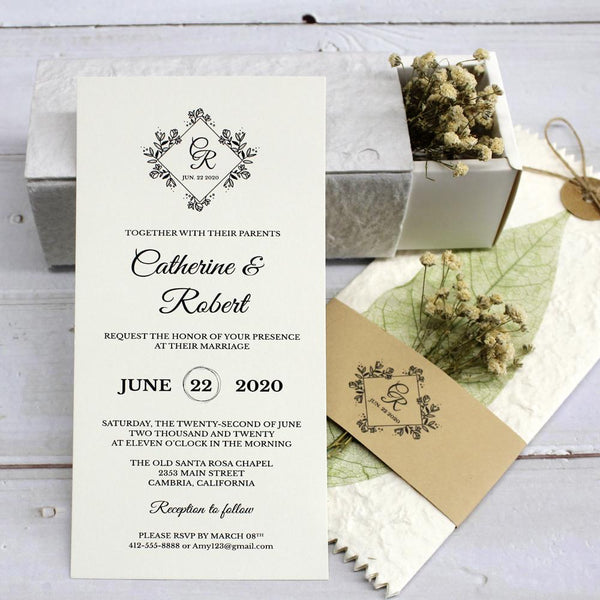 handmade-green-leaf-wedding-invitations-cards