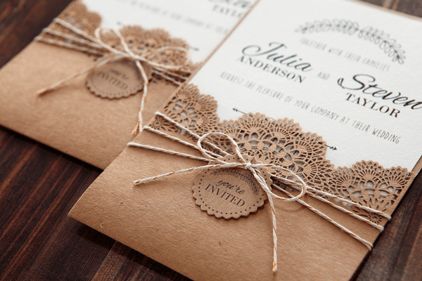 leaser cut wedding invitation
