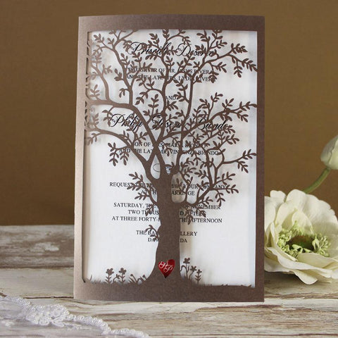 old tree wedding cards