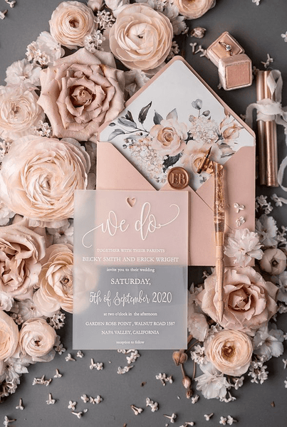 pink flowers wedding card
