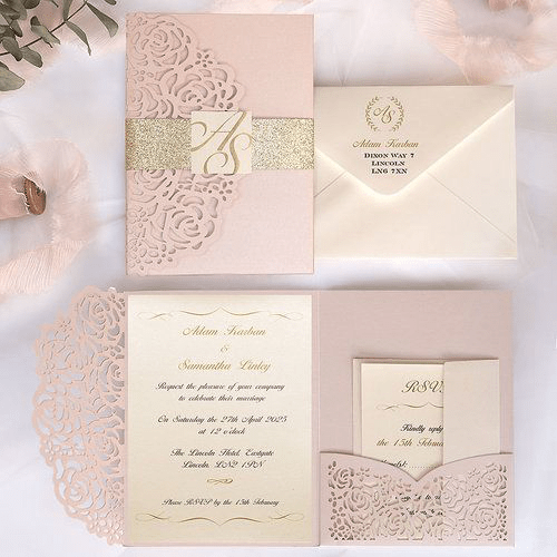 pink wedding invitation cards