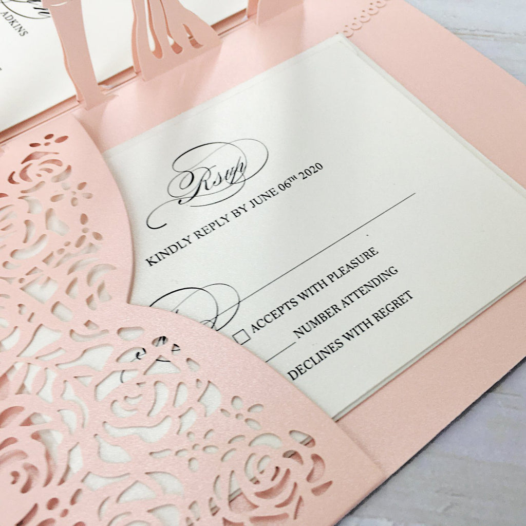 3D Pale Pink Customized Invitations with RSVP Cards for Wedding, Unique Invite Cards Picky Bride