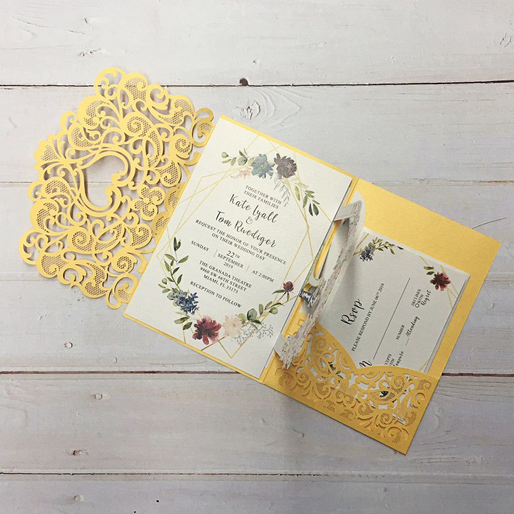 3D Yellow Gold Invitations with RSVP Cards, Couple Wedding Invite Cards Picky Bride
