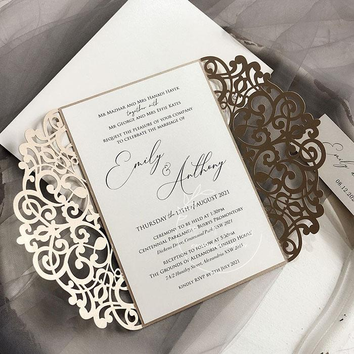 5 x 7 inch Laser Cut Wedding Invitations Champagne Lace Invitation Cards Calligraphy Invites Picky Bride
