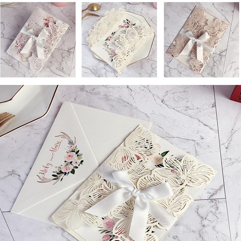 5 x 7 Inch Laser Cut Wedding Invites Floral Wedding Cards with Printed Envelope Picky Bride