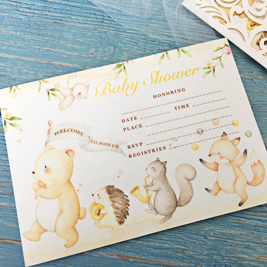 Baby Shower Invitations, Woodland Animals with Envelopes, Blank Fill in 5x7 Cards, Perfect for Baby Boys and Baby Girls Picky Bride
