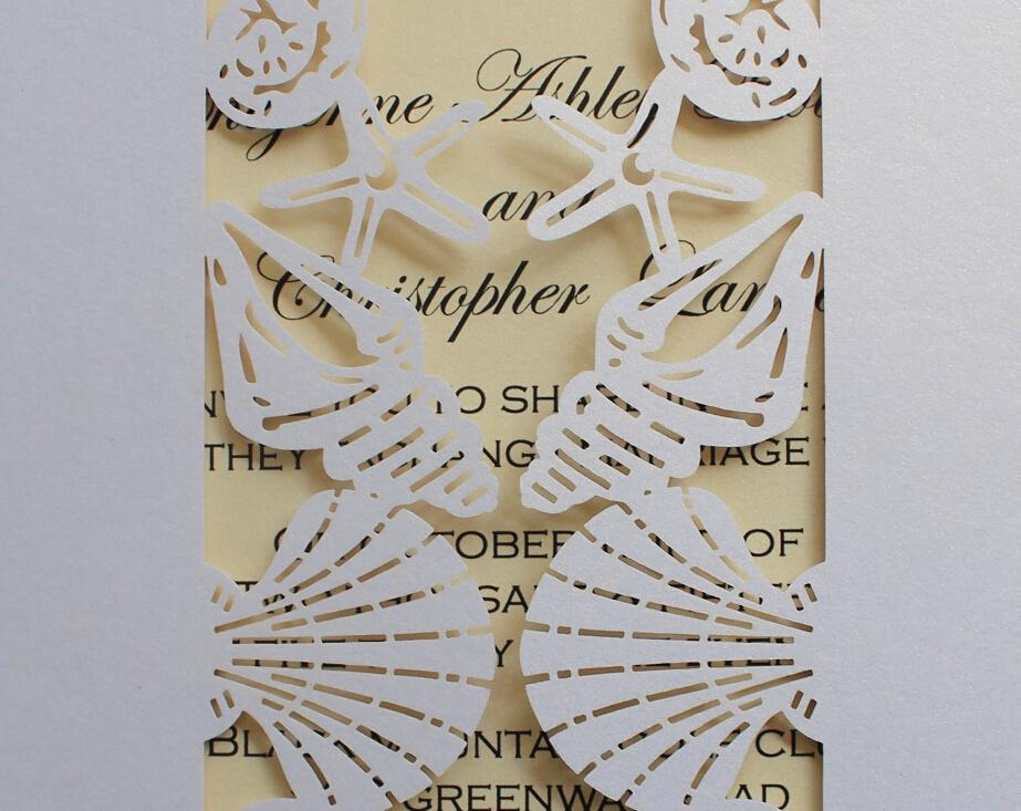 Beach Wedding Invitation with Shells Starfish Design by Picky Bride Picky Bride