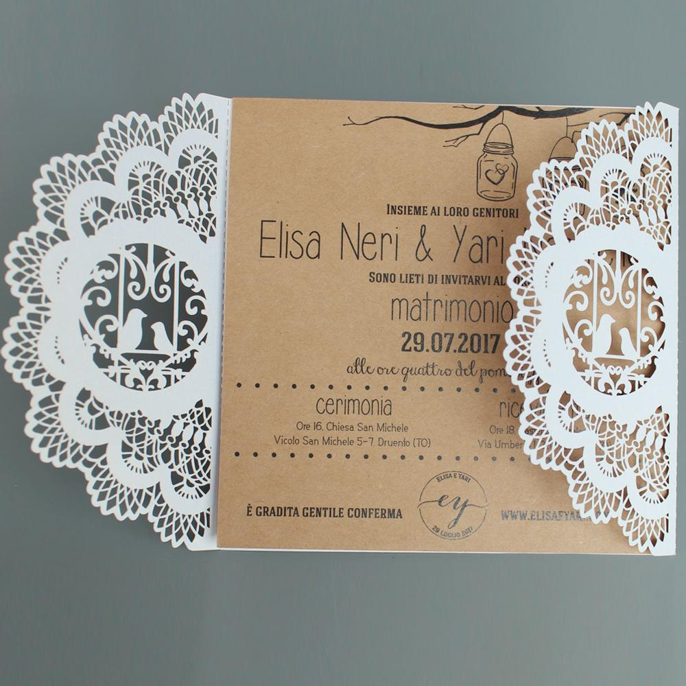 Birdcage Vintage Kraft Paper Invitations Wedding Invite Cards Picky Bride