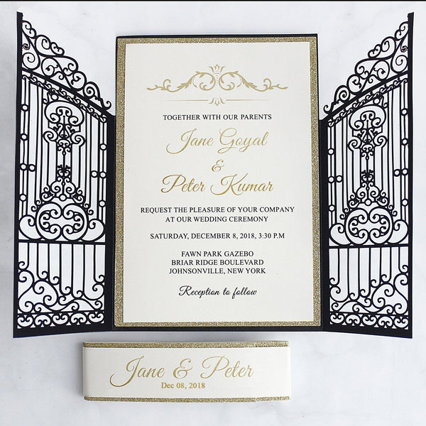 Black and Gold Wedding Invitations, Laser Cut Invitations for Luxury Wedding, Gate with Gold Glitter Invitation Cards Picky Bride