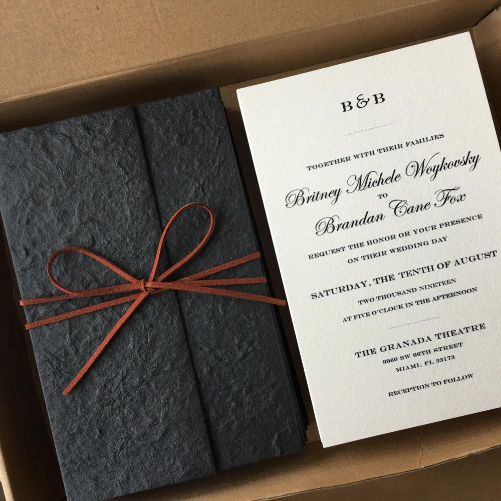 Black Invitations for Simple Wedding Theme Picky Bride