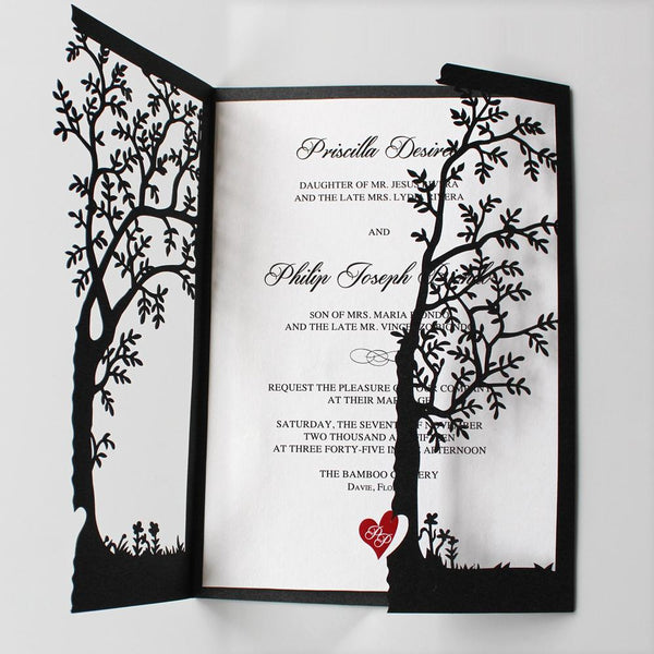 Black Tree Invitations, Red Heart Wedding Invite Cards Picky Bride