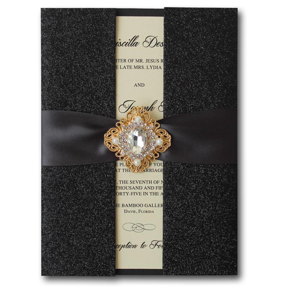 Black Wedding Invitations, Shiny Invitation, 2016 Luxurious Wedding Invitation Card Picky Bride