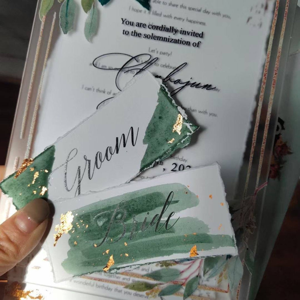 Botanical Frosted Acrylic Wedding Invitations with Envelopes, Customized Invite Wording Picky Bride