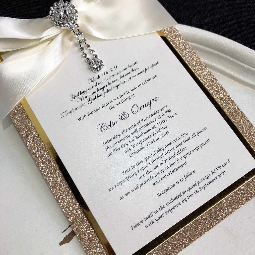 Boxed Wedding Invitations Modern Calligraphy Invitation for Wedding Gold Glitter Invites with Ribbon Picky Bride
