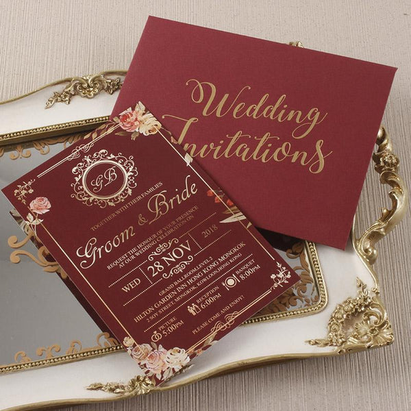 Burgundy and Gold Invitation Cards Floral Wedding Invite with Envelope Personalized Invites Picky Bride