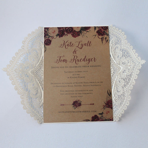 Burgundy Bridal Shower Invitations, White and Burgundy Invitation for Wedding Picky Bride