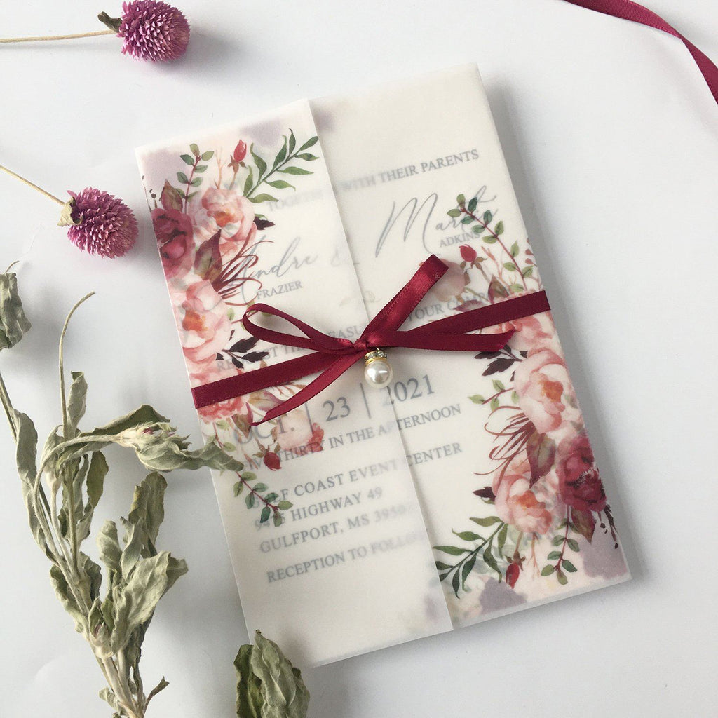 Burgundy Floral Wedding Invited Vellum Paper Wrap with Handmade Paper Invitations Picky Bride