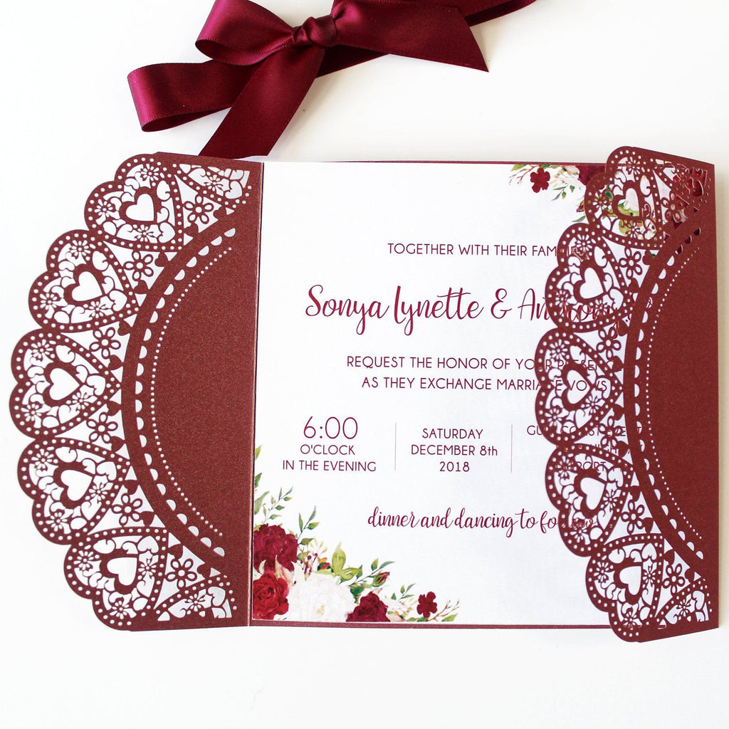 Burgundy Laser Cut Wedding Invitation With Red Ribbon Picky Bride
