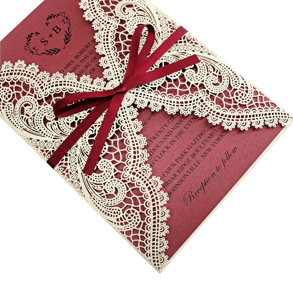 Burgundy Laser Cut Wedding Invite Cards with Envelopes Picky Bride