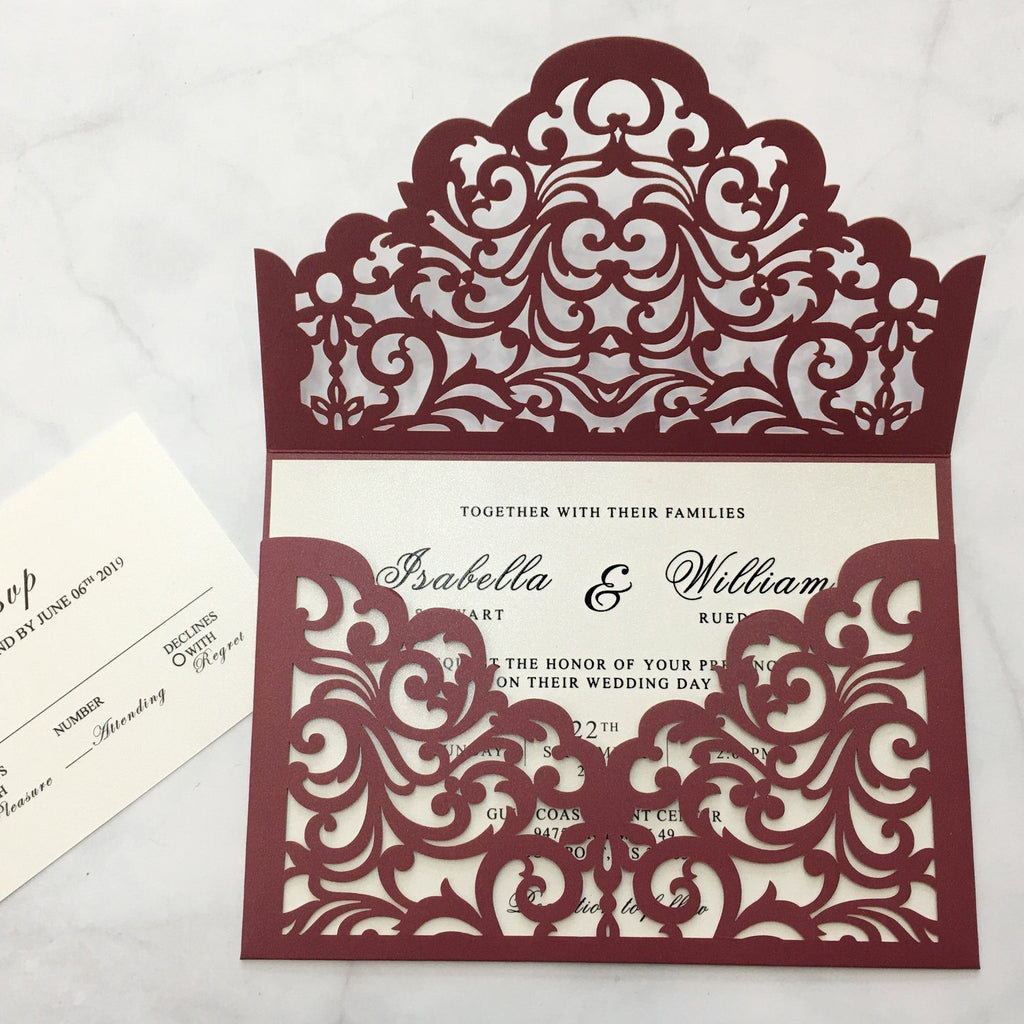Burgundy Wedding Invitation Set Pocket Wedding Invitations With Burgundy Envelopes Picky Bride