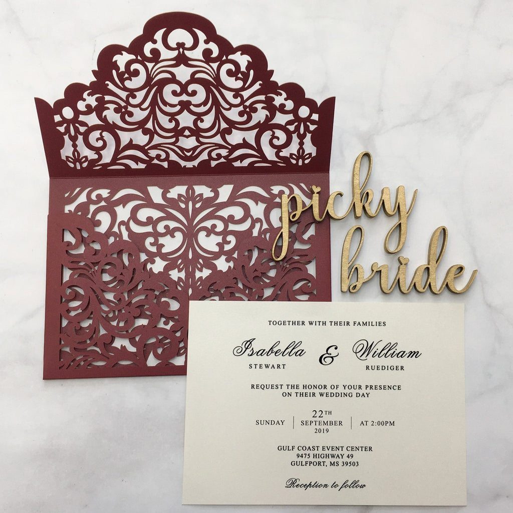 Burgundy Wedding Invitation Set Pocket Wedding Invitations With Burgundy Envelopes Picky Bride Burgundy 30 x $3.5 ea.