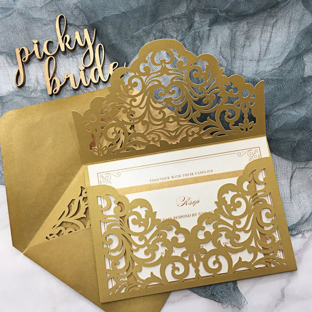 Burgundy Wedding Invitation Set Pocket Wedding Invitations With Burgundy Envelopes Picky Bride Gold 30 x $3.5 ea.