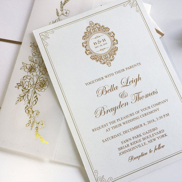 Calligraphy Invites Vellum Paper Wrap with Foil Printing and Gold Twine Picky Bride