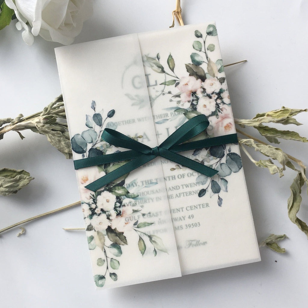Classic Modern Botanical Invitations for Wedding Green and Vellum Wedding Invites Calligraphy and Delicate Hand Drawn Floral Picky Bride