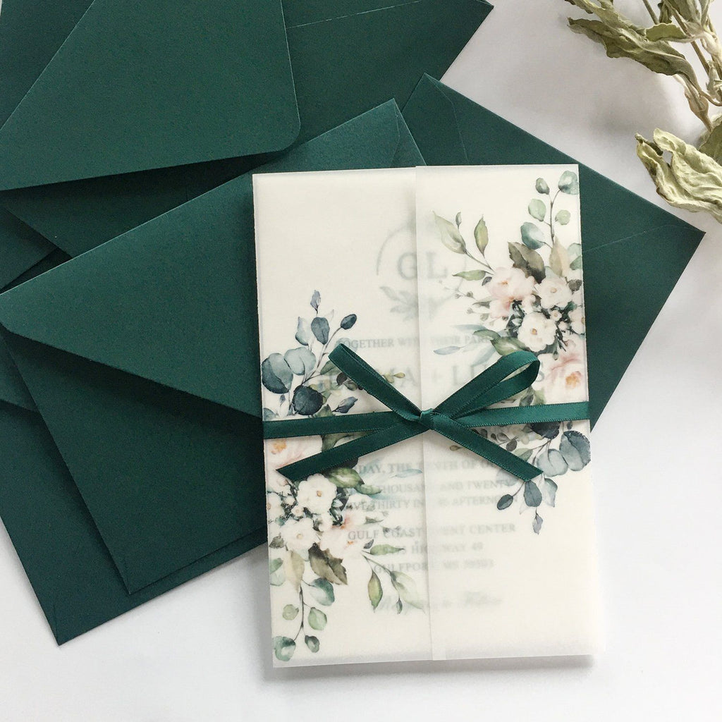 Classic Modern Botanical Invitations for Wedding Green and Vellum Wedding Invites Picky Bride
