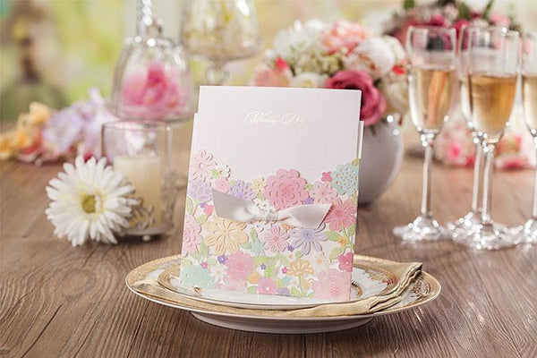 Colorful Flower Wedding Cards; Spring Laser Cut Floral Wedding Invitation Cards - Set of 50pcs Picky Bride