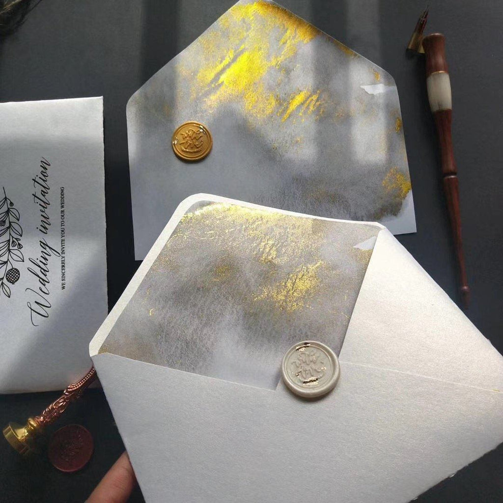 Custom Gold Deckled Edge Wedding Invitations, Handmade Torn Edge Luxury Invites Picky Bride