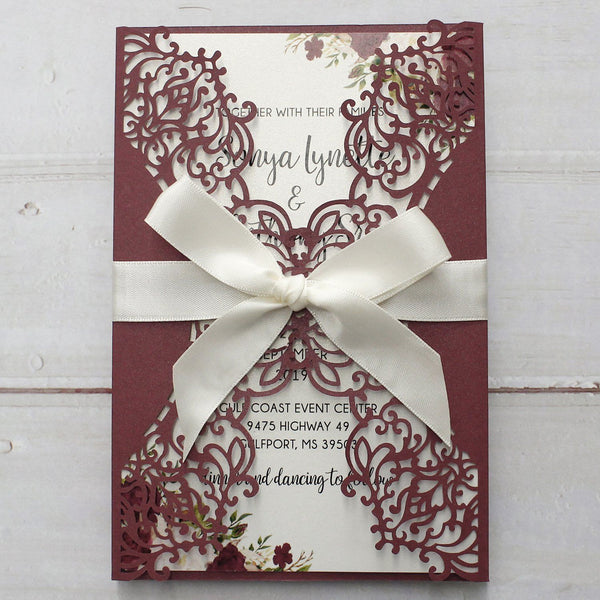 Elegant Burgundy Lace Wedding Invitation, Bridal Shower Invitation Picky Bride