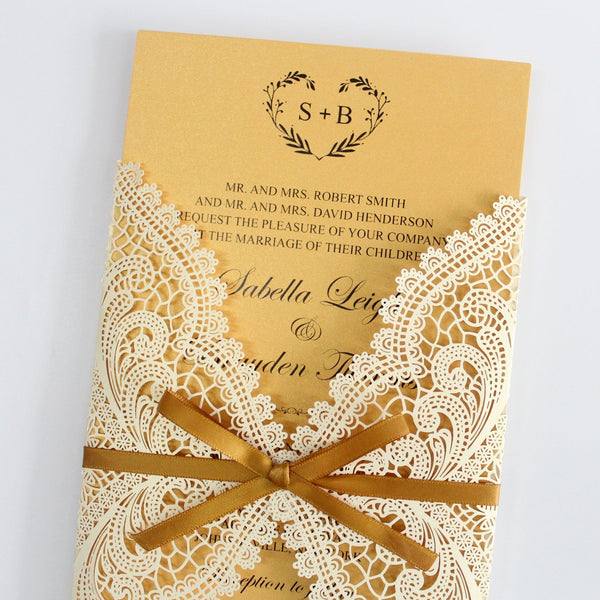 Elegant Golden Invitations for Wedding Vintage Invitations with RSVP Cards Picky Bride