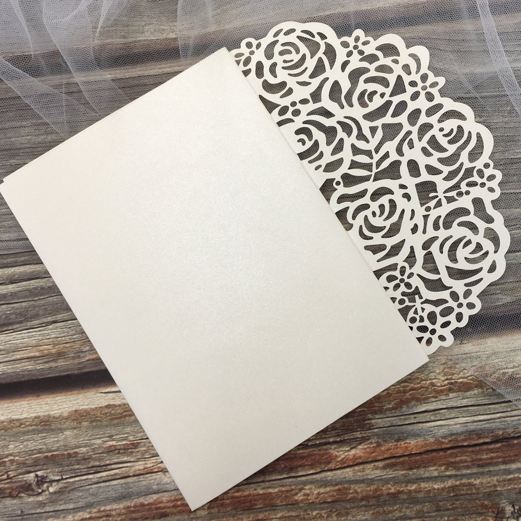 Elegant Ivory Wedding Cards Rose Laser Cut Invitations with RSVP Cards Picky Bride