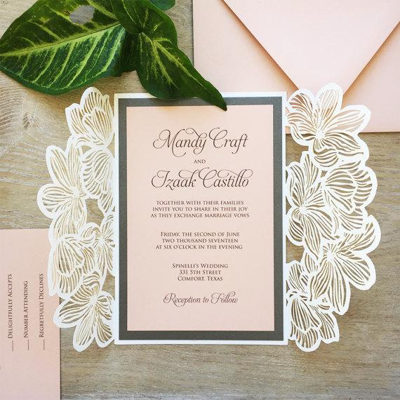 Elegant Laser Cut Invitation Wedding, Floral Wedding Cards Printed Invitation with 2 Insert Picky Bride