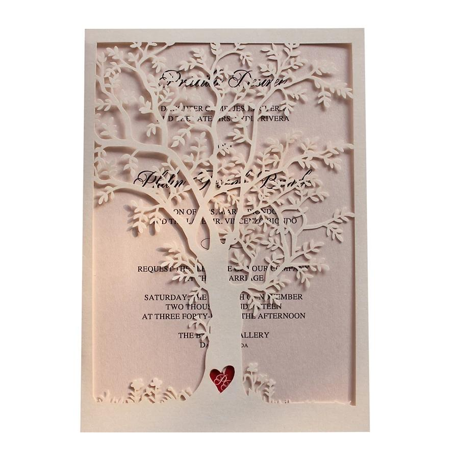 Elegant Wedding Invitations with Custom Printing, Vintage Tree Invitation Pink Invites Picky Bride