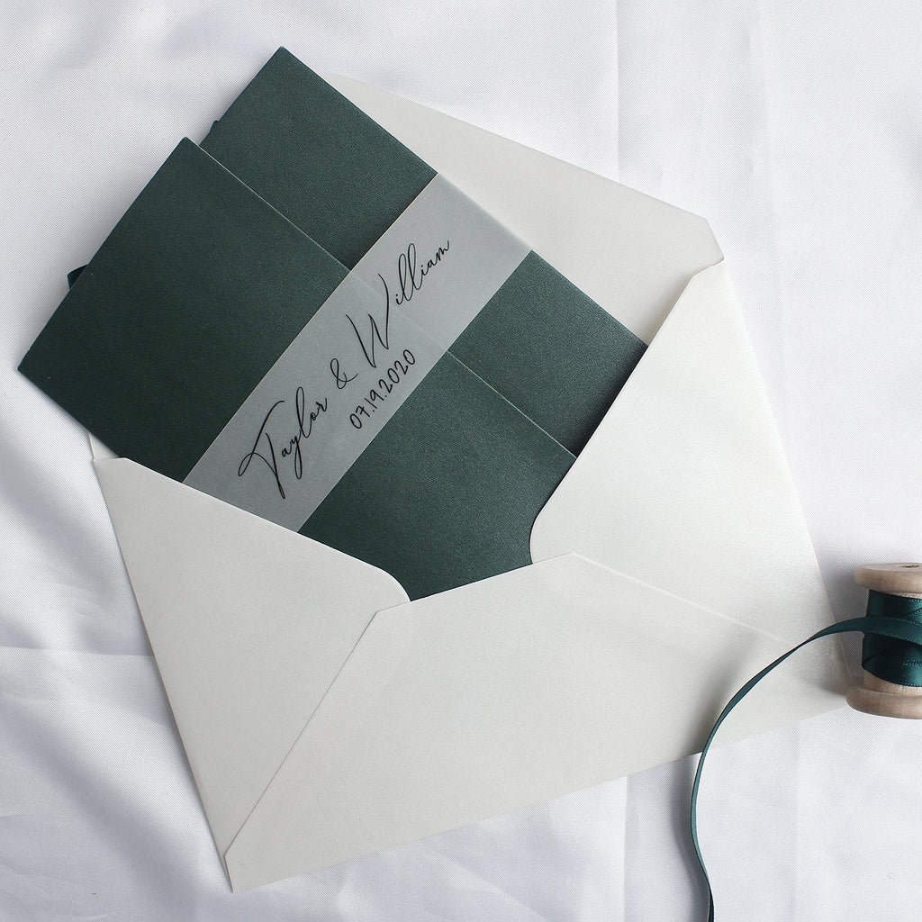 Emerald Green Pocket Wedding Invitations Modern Calligraphy Wedding Cards Customized Invitations with Photo Picky Bride