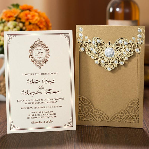 European Lace Wedding Invitation Gold PB2000-G Picky Bride