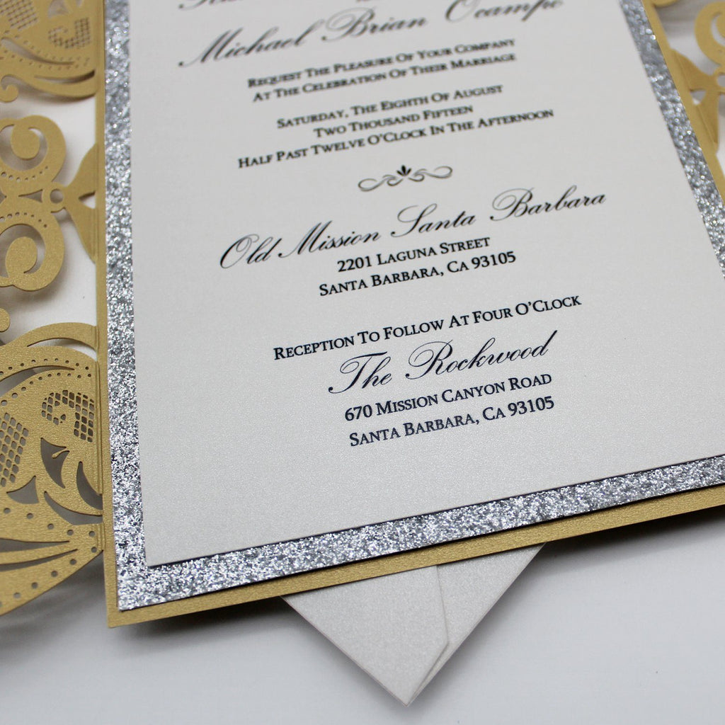 Fancy Golden Flower Invitations For Wedding, Gold Glitter Bridal Shower Invitations Picky Bride