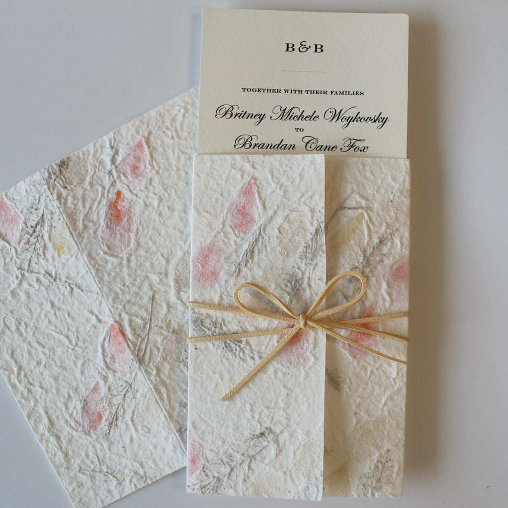 Floral Handmade Paper Invitations Customize Invite Cards Warm Soft Paper Picky Bride