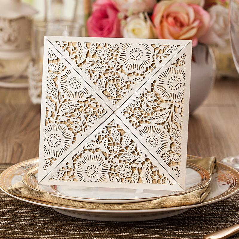 Floral Wedding Invitation Laser Cut Bridal Shower Invitation Cards - Set of 50 Picky Bride