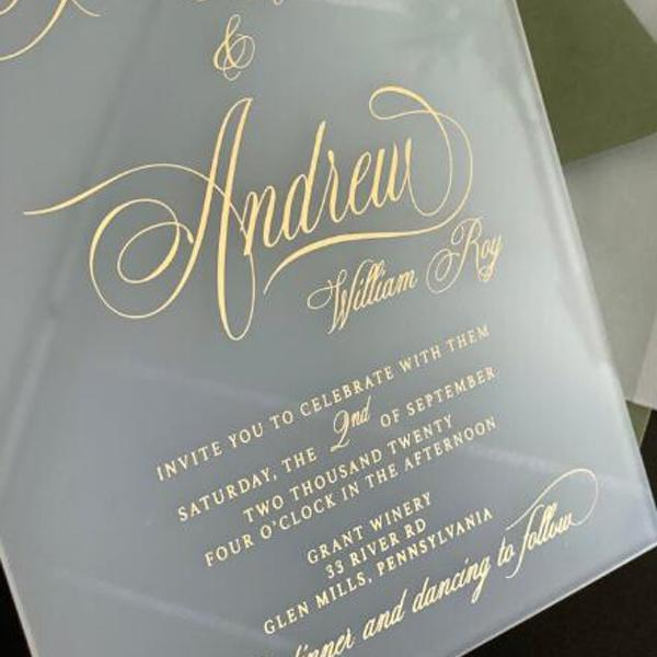 FROSTED Lucite Acrylic Wedding Invitations, Calligraphy Foil Gold Printing Transparent Invites With Burgundy Envelopes Picky Bride