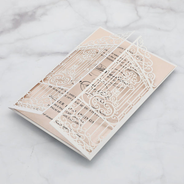 Gate Laser Cut Invitations for Wedding Calligraphy Invite Cards, Printed Envelope Available Picky Bride