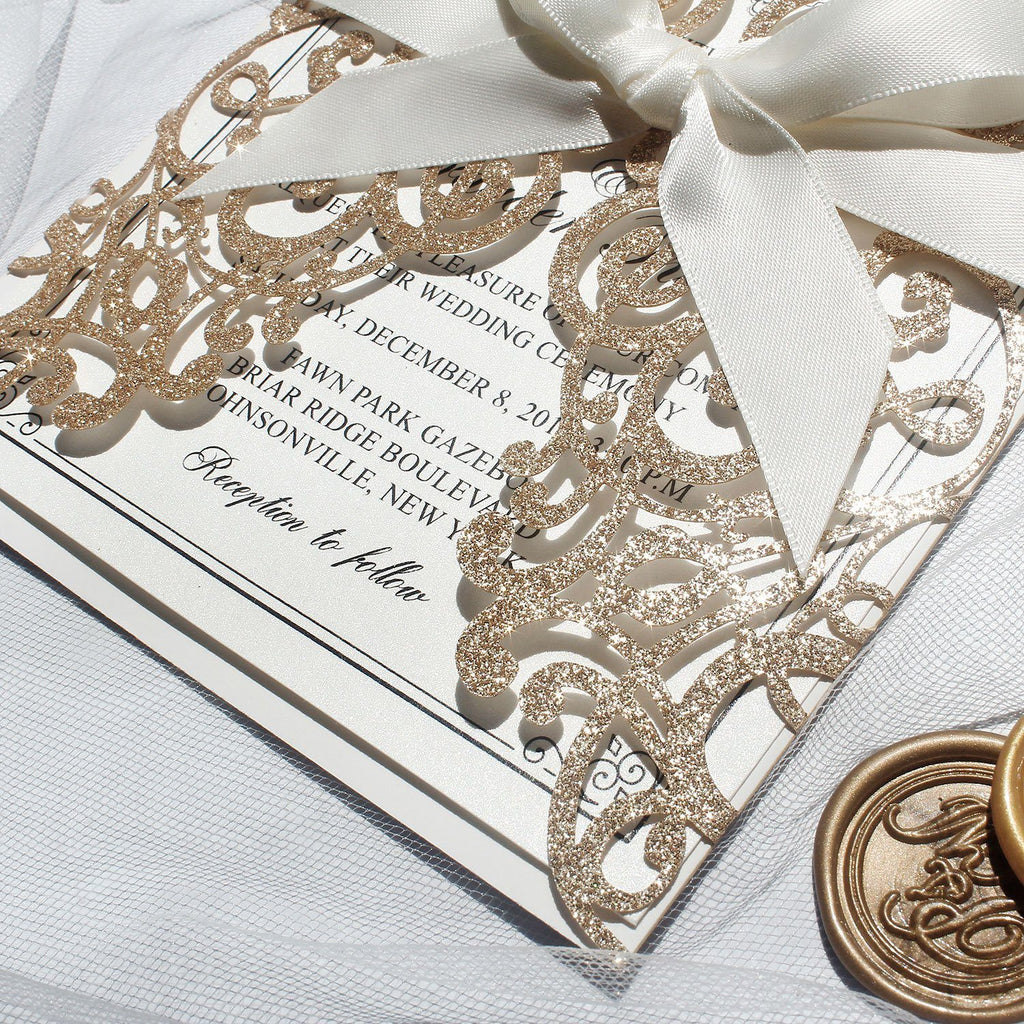 Glitter Gold Invitation Cards for Wedding/Bridal Shower 127 x 185 mm Picky Bride
