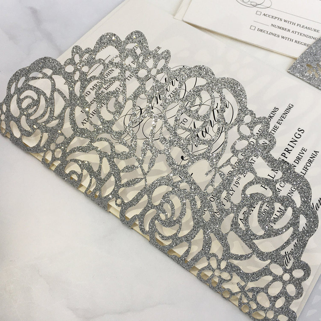 Glitter Paper Wedding Invitations Silver Laser Cut Invitations Card with Ivory Inner Card and RSVP Cards Picky Bride