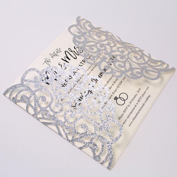 Glitter Silver Laser Cut Invitations With Envelopes for Luxury Wedding Picky Bride
