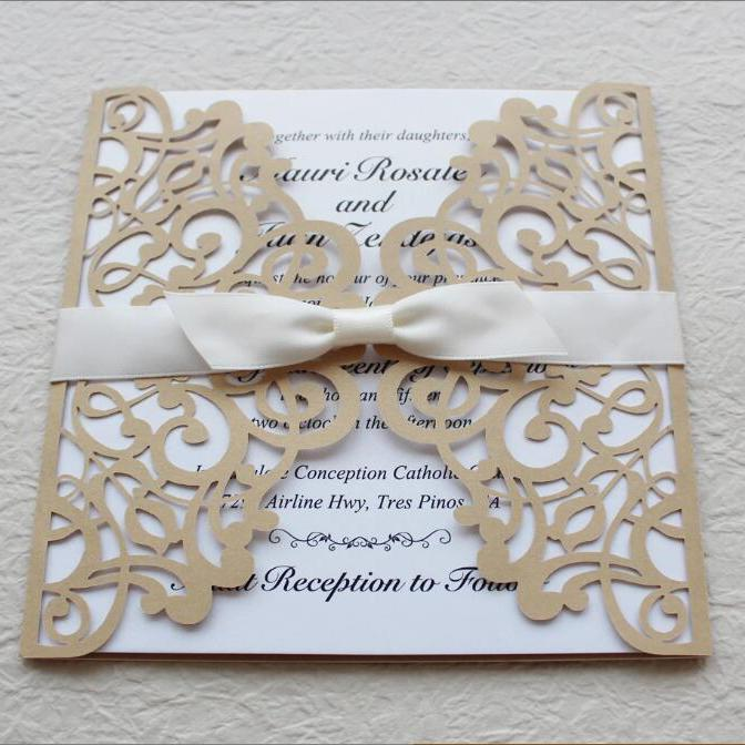 Gold and White Wedding Invitation Set, Gold Lace Invitation Cards Picky Bride